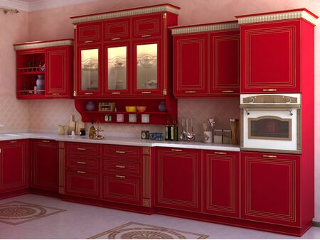 Кухонный гарнитур Палаццио (Красный Жемчуг)