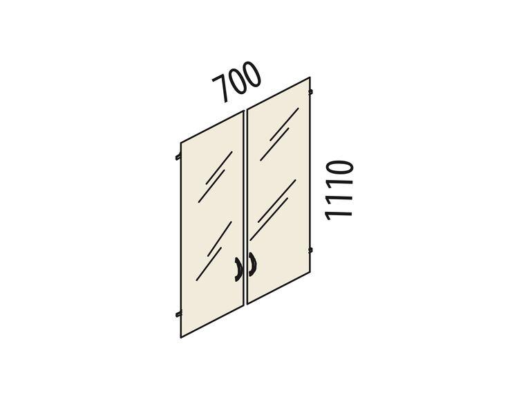 Двери стеклянные 3 секции Рубин 42.38